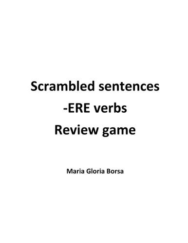 Game: Scrambled -ere verbs in Italian