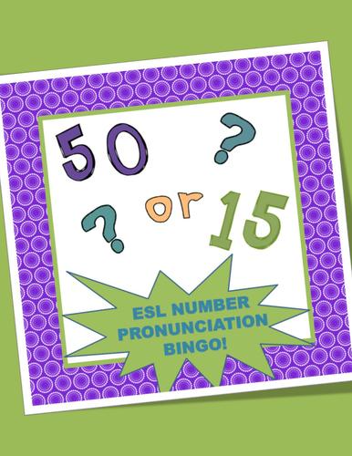 ESL Number Pronunciation Bingo