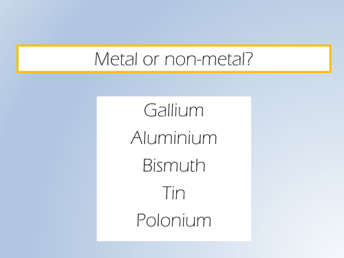 AQA 2016 chemistry lesson 5: metals and non-metals