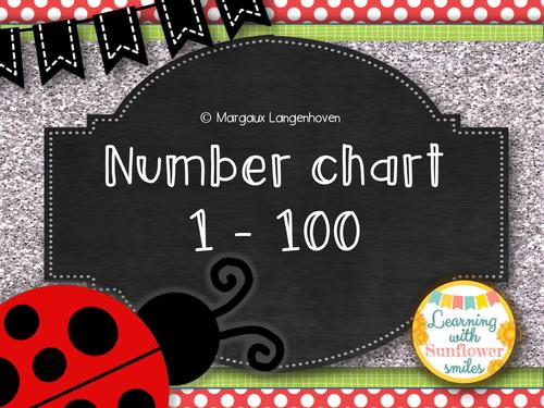 100 Number Chart (Ladybug theme)