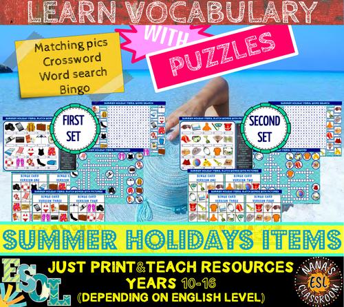SUMMER HOLIDAYS ITEMS (ESL): 8 VOCABULARY PUZZLES