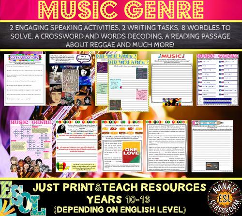 MUSIC [GENRE+HISTORY OF REGGAE] (ESL): Speaking, Reading and Writing Practice