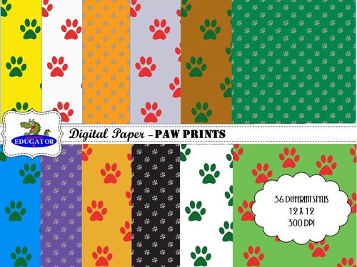 Pawprints Digital Paper