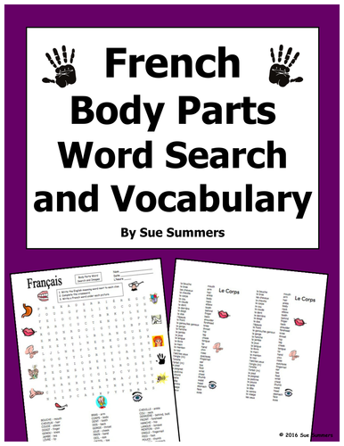 french body parts word search puzzle and image ids worksheet and vocabulary by suesummersshop. Black Bedroom Furniture Sets. Home Design Ideas