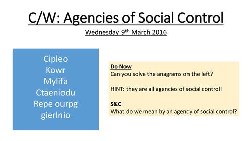 Agencies of Social Control - Crime