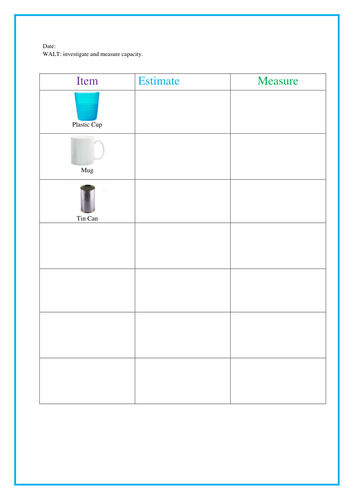 Measuring Capacity Year 1 By Djc19 Teaching Resources Tes