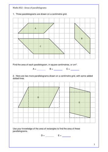 Maths KS2 Area of Parallelograms.  Set of activities to engage the learners. Year 6 and above.