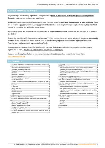 OCR GCSE 9-1 Computer Science 2.2 Programming technique (Python, Pseudocode and Flowcharts)