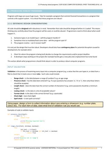 OCR GCSE 9-1 Computer Science  2.3 Producing robust programs