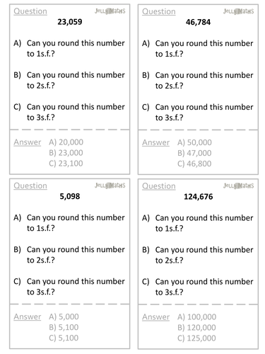 Rounding to Significant Figures Quiz Quiz Trade Cards