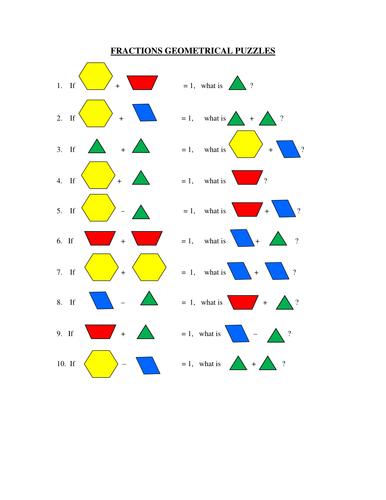 Fratcion Puzzle using geometrical blocks