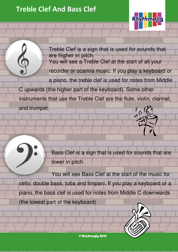 Treble and bass clef fact file