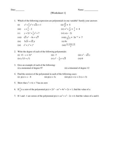 Polynomial Worksheet
