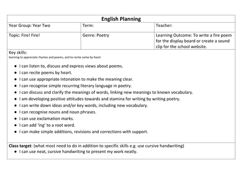 Fire of London poetry - English unit of work