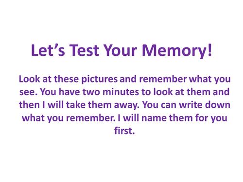 Whole School Starter - Tutor Time - Memory Test