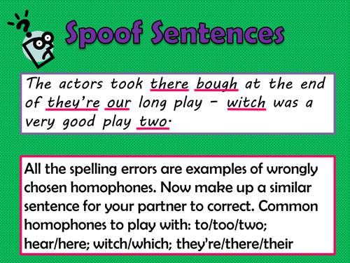 KS2 / KS3 - English - Starter - Homophones - Spellings - Activity - SPOOF SENTENCES