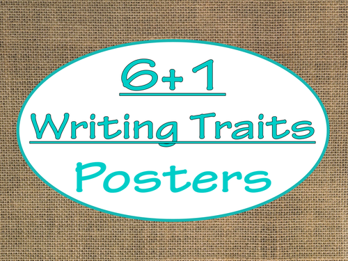 6+1 Writing Traits  Bulletin Board Signs/Posters (Burlap and Turquoise)