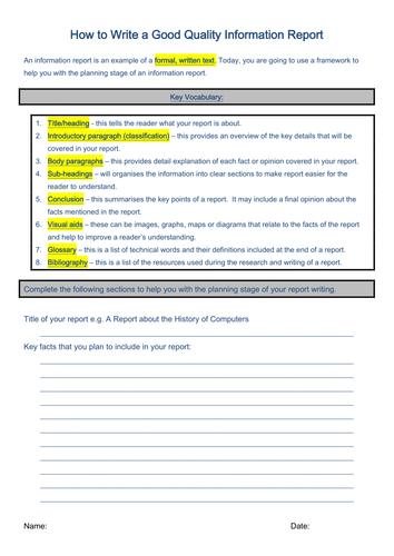 Let's Get Writing: Info Report Framework