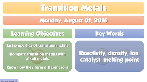 New gcse chemistry 2016 transition metals lesson by adg tes new gcse chemistry 2016 transition metals lesson by adg tes teaching resources tes urtaz Choice Image