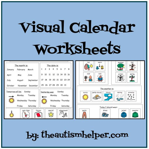 Visual Calendar Worksheets for Students with Autism or Special – Calendar Worksheets