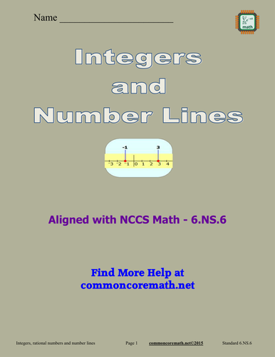 Integers and Number Lines - 6.NS.6