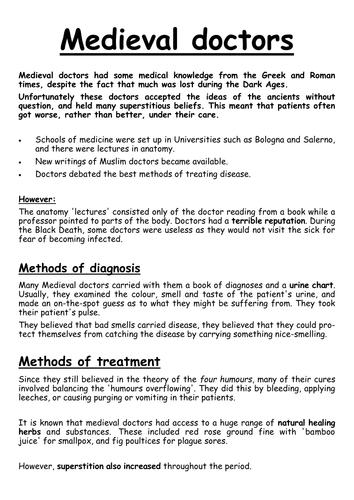 The Black Death (5 lessons) Medieval Medicine