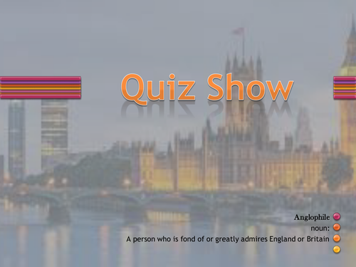 Anglophile quiz. Fun, ready-to-use resource that educates us about England.
