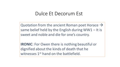 Wilfred Owen 'Dulce et Decorum Est' Annotated