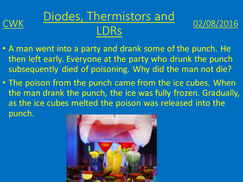 Diodes, thermistors and LDRs lesson plan and presentation