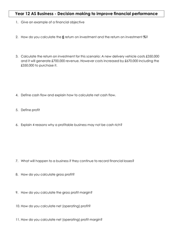 AQA AS Business finance worksheet revision to go with the powerpoint