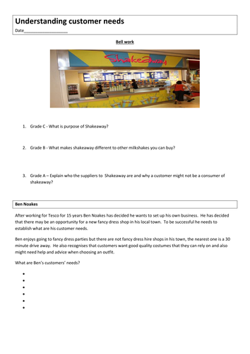 GCSE Business worksheet - understanding customer needs and wants