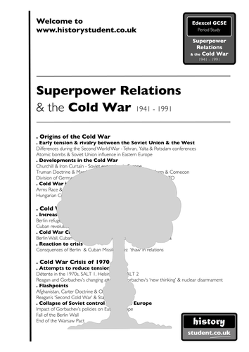 NEW Edexcel GCSE Superpower Relations & the Cold War 1941-91 (Option 26/27) NOTES only