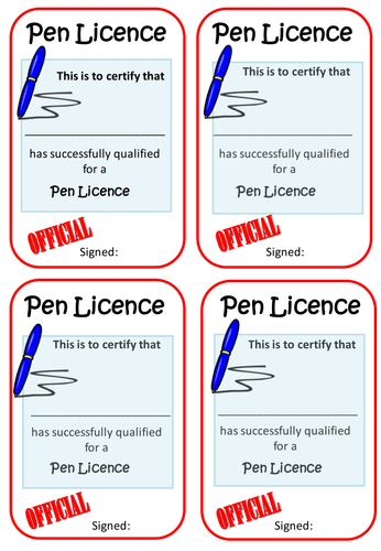 Pen Licence By Mrsminchin Teaching Resources Tes