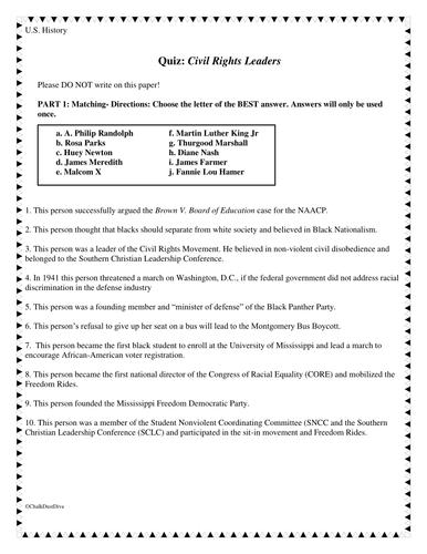 Civil Rights Movement Leaders Quiz (U.S. History)