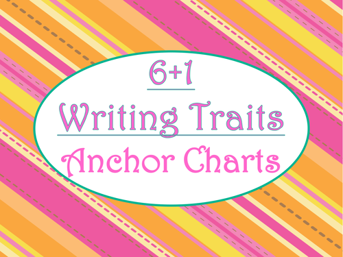 6+1 Writing Traits  Anchor Charts Signs/Posters (Tangerine & Hot Pink)
