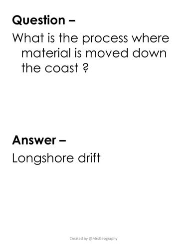 River and coastal processes: Quiz-Quiz-Trade
