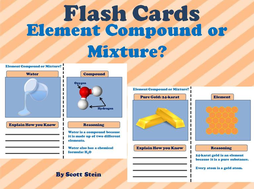 Element, Compound, and Mixture - Printable Interactive Flash Cards &  PowerPoint