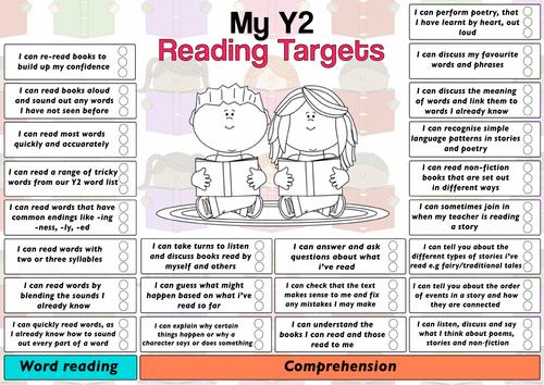 Child Friendly Pupil Reading Target Sheet Year 2