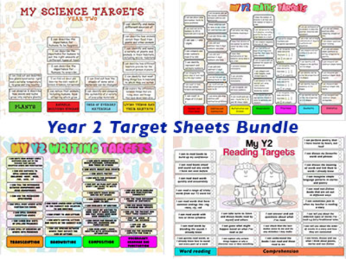 Child Friendly Year 2 Targets Sheets Bundle 2014 Curriculum