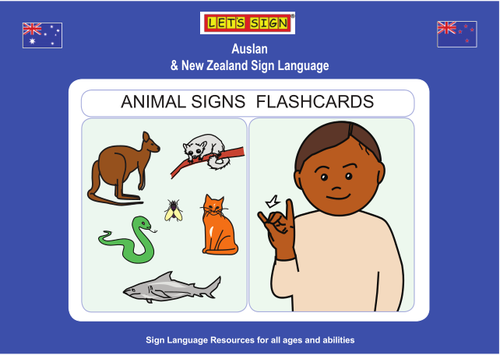 ANIMAL SIGNS FLASHCARDS: Auslan & New Zealand Sign Language (Let's Sign)