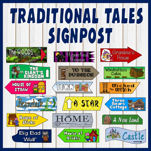 traditional tales signpost display teaching resources eyfs ks1 ks2 english by hayleyhill. Black Bedroom Furniture Sets. Home Design Ideas