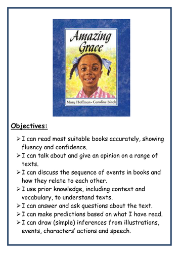 Year 2 English Amazing Grace  ( stories from different cultures) Week 1 Lesson Plans