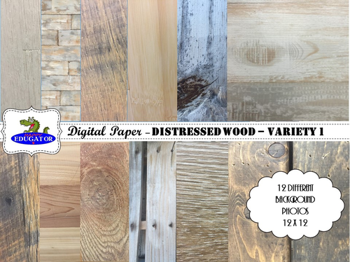 Distressed Wood - Rustic Wood Backgrounds for Shabby Chic - Variety 1