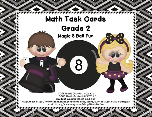 Math Task Cards- Grade 2 Review of Basic Operations and Word Problems