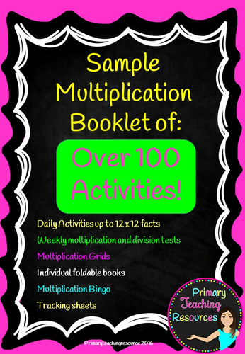 2 times table multiplication sample booklet