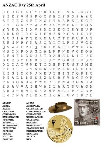 australia day word search pdf