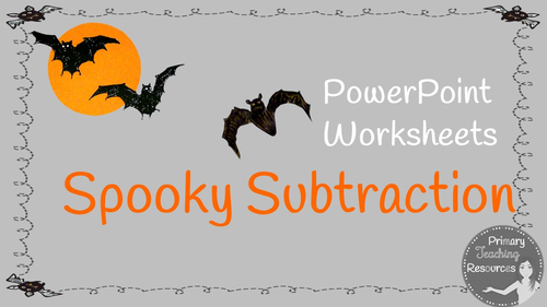 KS1 Halloween Spooky Subtraction PowerPoint and Worksheets