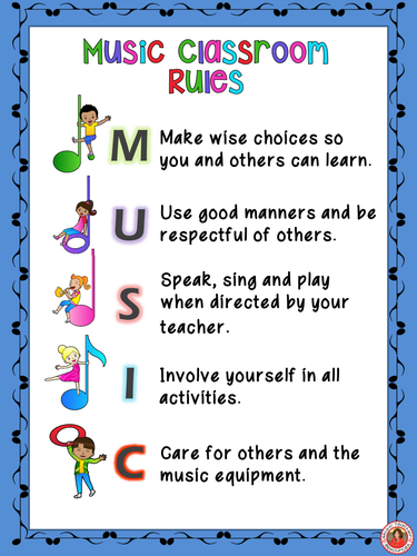 Classroom Rules Decor ~ Music classroom decor set class rules posters by