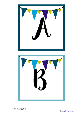 Quick print instant display lettering - A-Z, 0-9 and punctuation - bunting style
