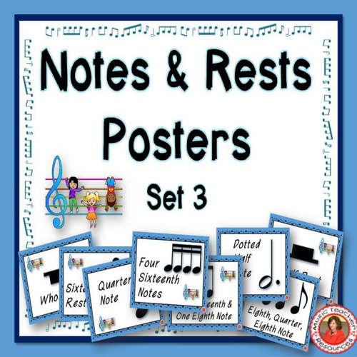 Music Classroom Decor Set: Notes and Rests Poster Set 3